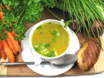 Chicken soup. And some fresh ingredients stock image