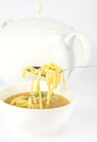 Chicken soup. With macaroni and decorated with parsley in a bowl, some on a spoon, with soup tureen in the background royalty free stock photo