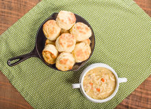 Chicken soup with baked biscuits Royalty Free Stock Photo