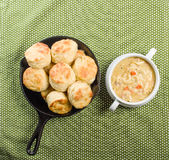 Chicken soup with baked biscuits Royalty Free Stock Images