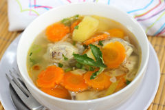 Chicken Soup. A bowl of Chicken Soup served with slices of potato and carrots Royalty Free Stock Photos