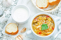 Chicken soup with cabbage Stock Photo