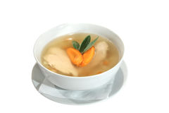Chicken soup with carrots and sage in bowl Stock Images