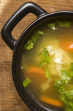 Chicken soup in the ceramic bowl Royalty Free Stock Images