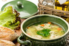 Chicken soup in ceramic bowl. Royalty Free Stock Images