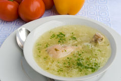 Chicken soup with chicken leg Royalty Free Stock Photos