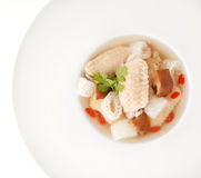 Chicken soup with Chinese herb and bamboo Royalty Free Stock Photos