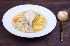 Chicken soup, close up Royalty Free Stock Photography