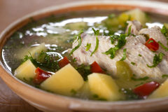 Chicken soup. Close up of some Bowl of chicken soup with vegetables Stock Photography
