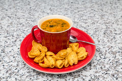 Chicken Soup and Corn Chips stock photo