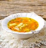 Chicken soup with dumpling . Stock Photos