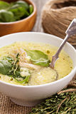 Chicken soup with egg and pasta Royalty Free Stock Photography