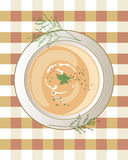 Chicken soup. An illustration of a bowl of chicken soup with cream swirls leaf garnish and sprigs of dill on a gingham tablecloth Royalty Free Stock Photos