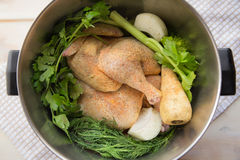 Chicken soup ingredients Royalty Free Stock Photography