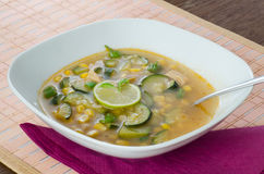Chicken soup with lemon and rice Stock Photos