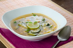 Chicken soup with lemon and rice Stock Images