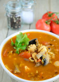 Chicken soup with lentils Stock Photography