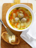 Chicken soup with meatballs. Royalty Free Stock Image