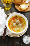 Chicken soup with meatballs. Stock Photography