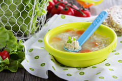 Chicken soup with meatballs Stock Images