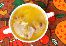 Chicken Soup with Mushrooms Royalty Free Stock Photo