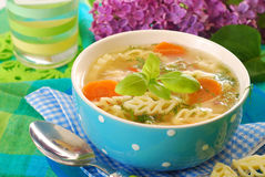 Chicken soup with noodle Royalty Free Stock Photos
