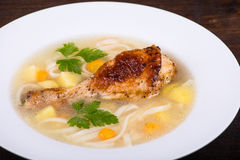Chicken soup with noodle and vegetables Royalty Free Stock Image