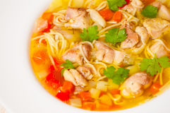 Chicken soup with noodle and vegetables Stock Photos