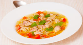 Chicken soup with noodle and vegetables Stock Image