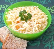 Chicken soup with noodles Stock Image
