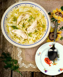 Chicken soup with noodles . Royalty Free Stock Photos