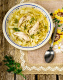 Chicken soup with noodles . Stock Image