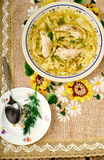 Chicken soup with noodles . Stock Photos