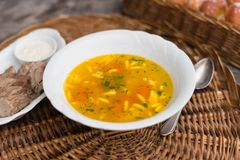 Chicken soup with noodles and parsley Royalty Free Stock Photo