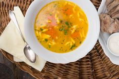 Chicken soup with noodles and parsley Stock Photo