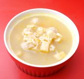 Chicken soup with noodles. Some fresh chicken soup with noodles royalty free stock photos