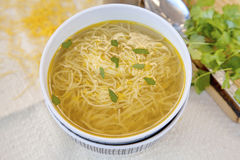 Chicken soup with pasta. Tasty chicken soup with pasta Royalty Free Stock Photography