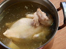 Chicken soup in pot Royalty Free Stock Photo