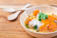 Chicken soup with potato and carrot Stock Image