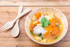 Chicken soup with potato and carrot Stock Photos