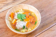 Chicken soup with potato and carrot Stock Images