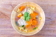 Chicken soup with potato and carrot Royalty Free Stock Photo