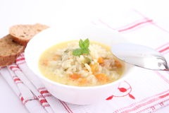 Chicken soup with rice Stock Photo