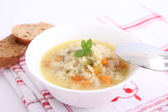 Chicken soup with rice Stock Images