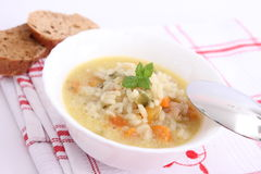 Chicken soup with rice Stock Photos