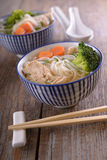 Chicken soup with rice noodles Royalty Free Stock Photos