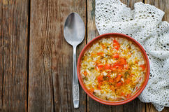 Chicken soup with rice and peppers Stock Photography