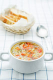 Chicken soup with rice and peppers Royalty Free Stock Images