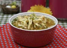 Chicken Soup. Some chicken soup with slices of pan cakes stock photography
