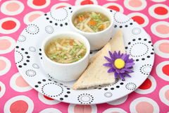 Chicken soup. Some chicken soup with noodles stock images
